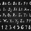 ストックベクタ: Original alphabet letters and numbers