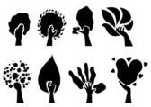 Set of 8 eco trees — Stock Vector
