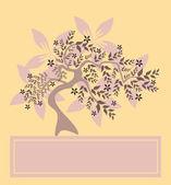 Floral tree invitation — Stock Vector