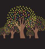Hand trees invitation — Stock Vector