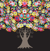 Multicolor floral tree — Stock Vector