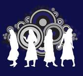 Girl dancer silhouettes — Stock Vector
