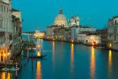 Gran canal y saludo al atardecer, venecia — Foto de Stock