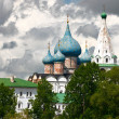Domes of Nativity Cathedral, Suzdal Kremlin. Russia. - Stock Photo