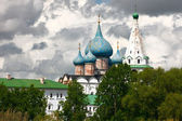 Domes of Nativity Cathedral, Suzdal Kremlin. Russia. — Stock Photo