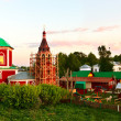Dormition of The Theotokos Cathedral (XVII) in Suzdal at sunset - Stock Photo