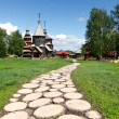 Wooden footpath to old Russian wooden churches in Suzdal. - Stock Photo