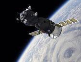 Spaceship on the orbit — Stock Photo