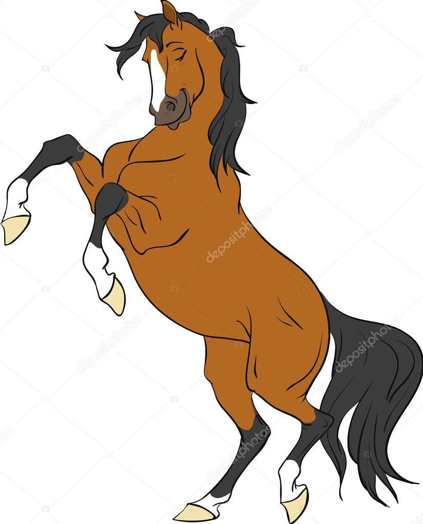 Cartoon bay horse rearing up stock illustration