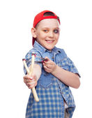 Boy with a slingshot — Stock Photo
