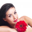 Woman with a flower — Stock Photo #5401898
