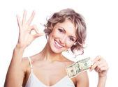 žena s penězi — Stock fotografie