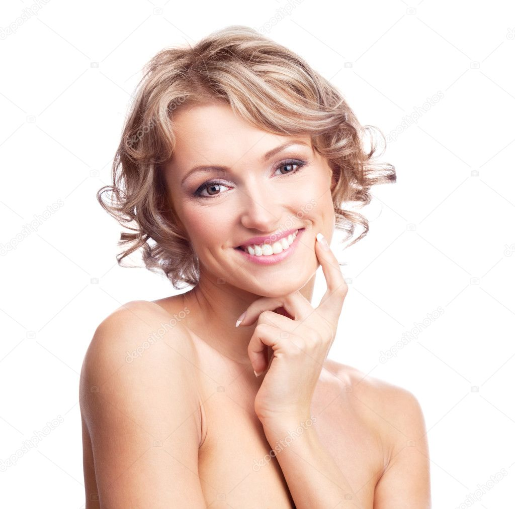 Pretty young thoughtful blond woman with curly hair, isolated against white  Stock Photo #5465146
