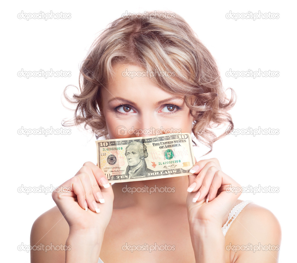Beautiful young blond woman with a ten dollars banknote  Stock Photo #5467849