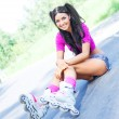 Woman on roller skates — Stock Photo