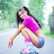 Woman on roller skates — Stok fotoğraf