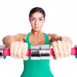 Woman with dumbbells — Stock Photo #5601327