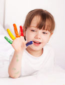 Girl painting with watercolor — Stock Photo