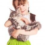 menina com um gato — Foto Stock