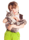 Girl with a cat — Foto de Stock
