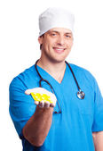 Doctor with pills — Stockfoto