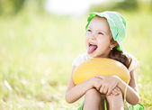 Girl with melon — Stock Photo