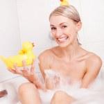 Woman taking a bath — Stock Photo