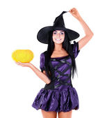 Fairy with a pumpkin — Stock Photo