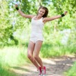 Jumping woman — Stock Photo #6598879