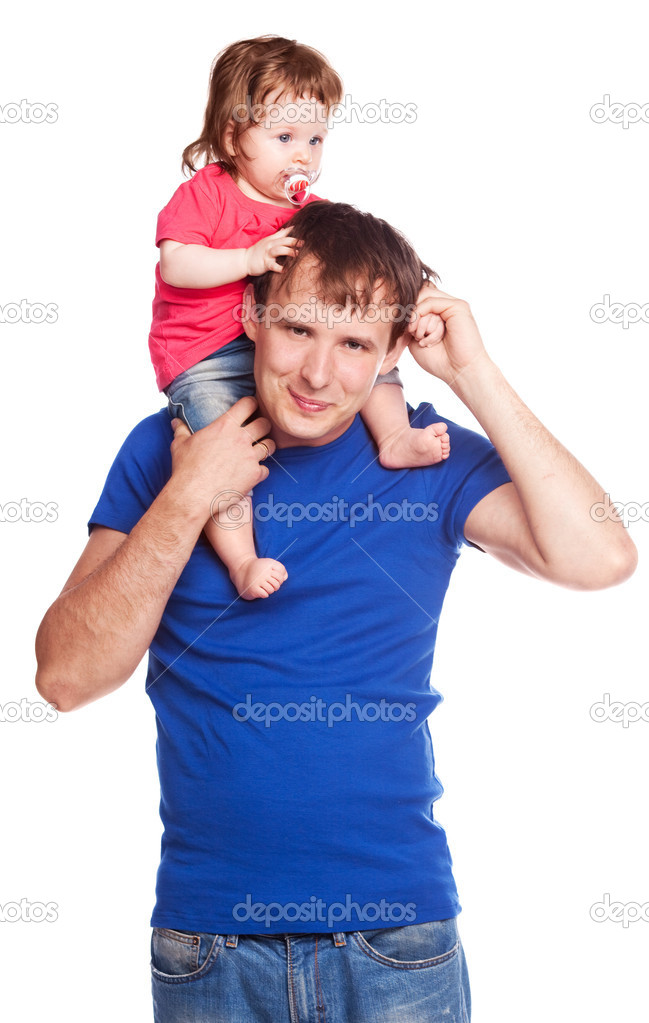 Happy family; young father and his daughter isolated against white background — Stock Photo #6726909