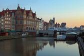 Gdansk of Riverside at dawn — Stock Photo