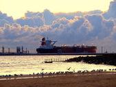 Tanker at sunrise — Stock Photo