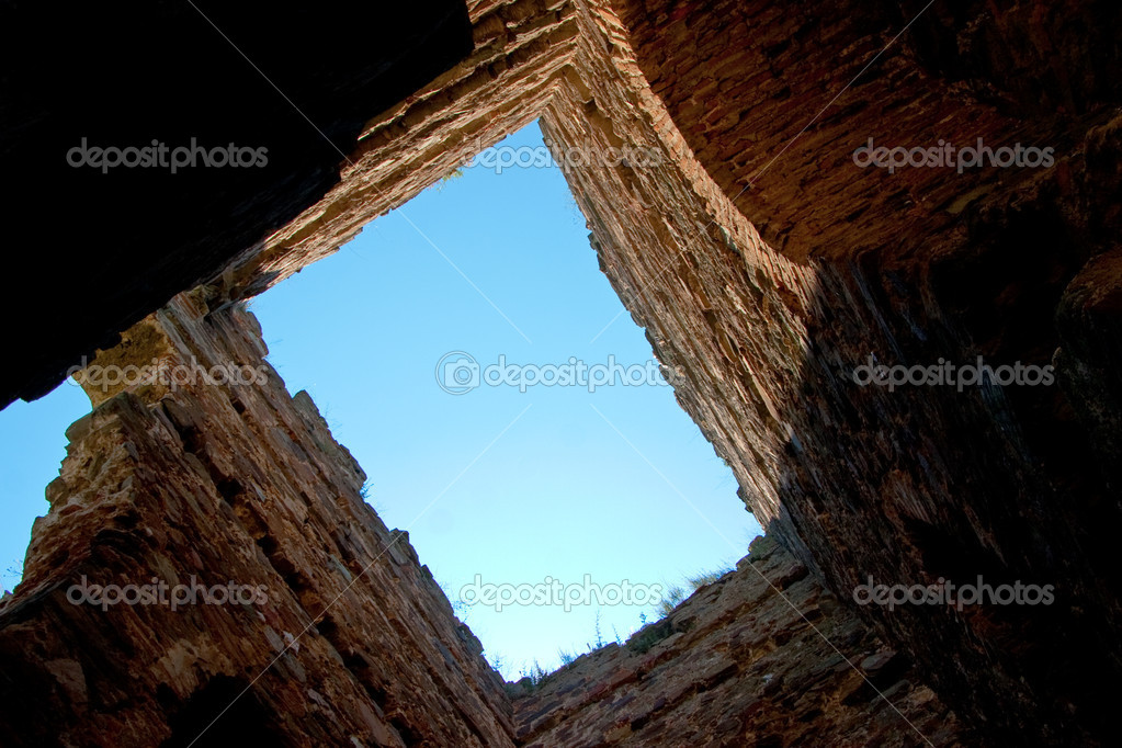 A view to the sky through an old ruin  Stock Photo #5832460
