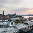 Stockholm, Sweden wide panorama at sunset — Foto Stock