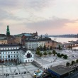 Stockholm, Zweden breed panorama bij zonsondergang — Stockfoto