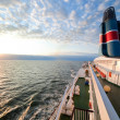 Ship deck, board view, ocean at sunset — Stock Photo #6443140