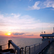 Ship deck view, ocean at sunset — Stock Photo #6443421