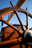 Old helm, wooden wheel for navigation — Stock Photo