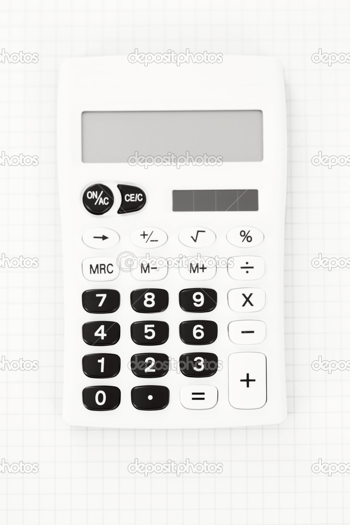 White calculator - school time — Stock Photo #5436459