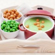 Green pea soup — Stockfoto