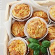 Muffins with ham and cheese - Stok fotoğraf
