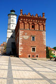 The view of Sandomierz downtown at daylight. Poland. — Foto de Stock
