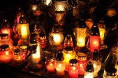 Candle flames illuminatingduring the night of All Saint's Day — Stock Photo