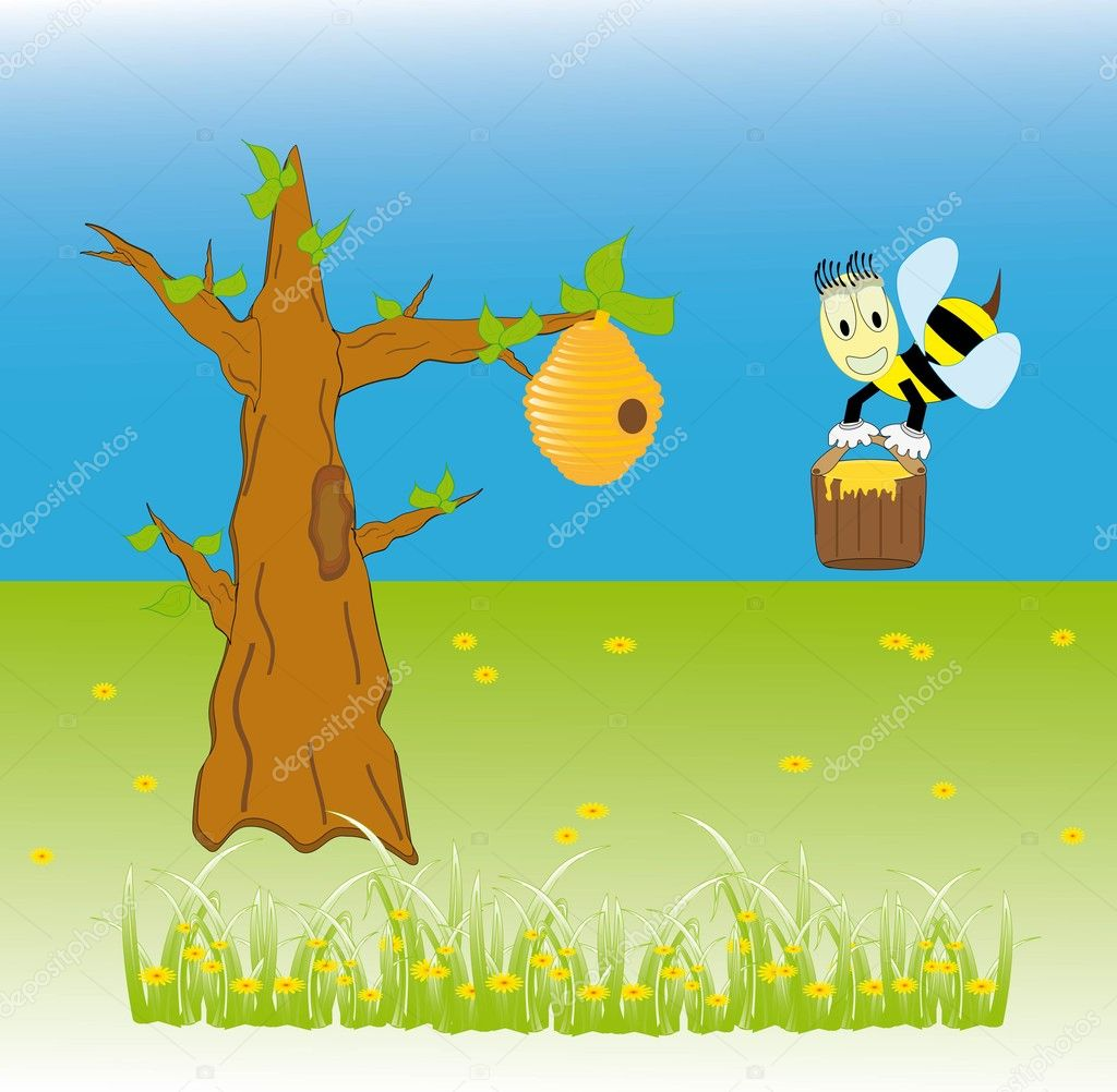 Bees in the hive in a tree - Vector Illustration — Stock Vector #5559220