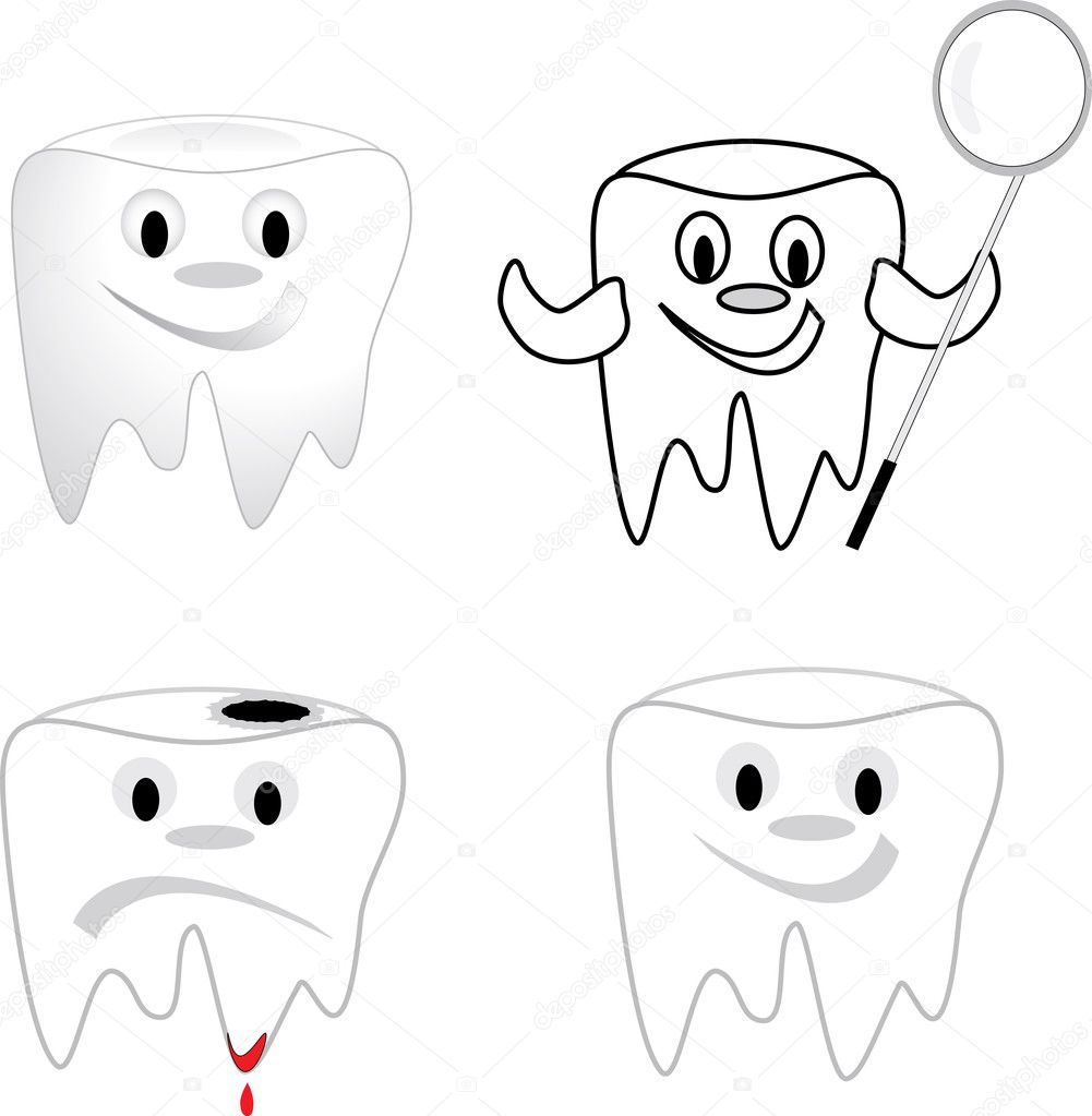 Tooth collection  on white background - vector illustration. — Stock Vector #5559506