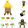 Bees in the hive. Honey Family — Vector de stock