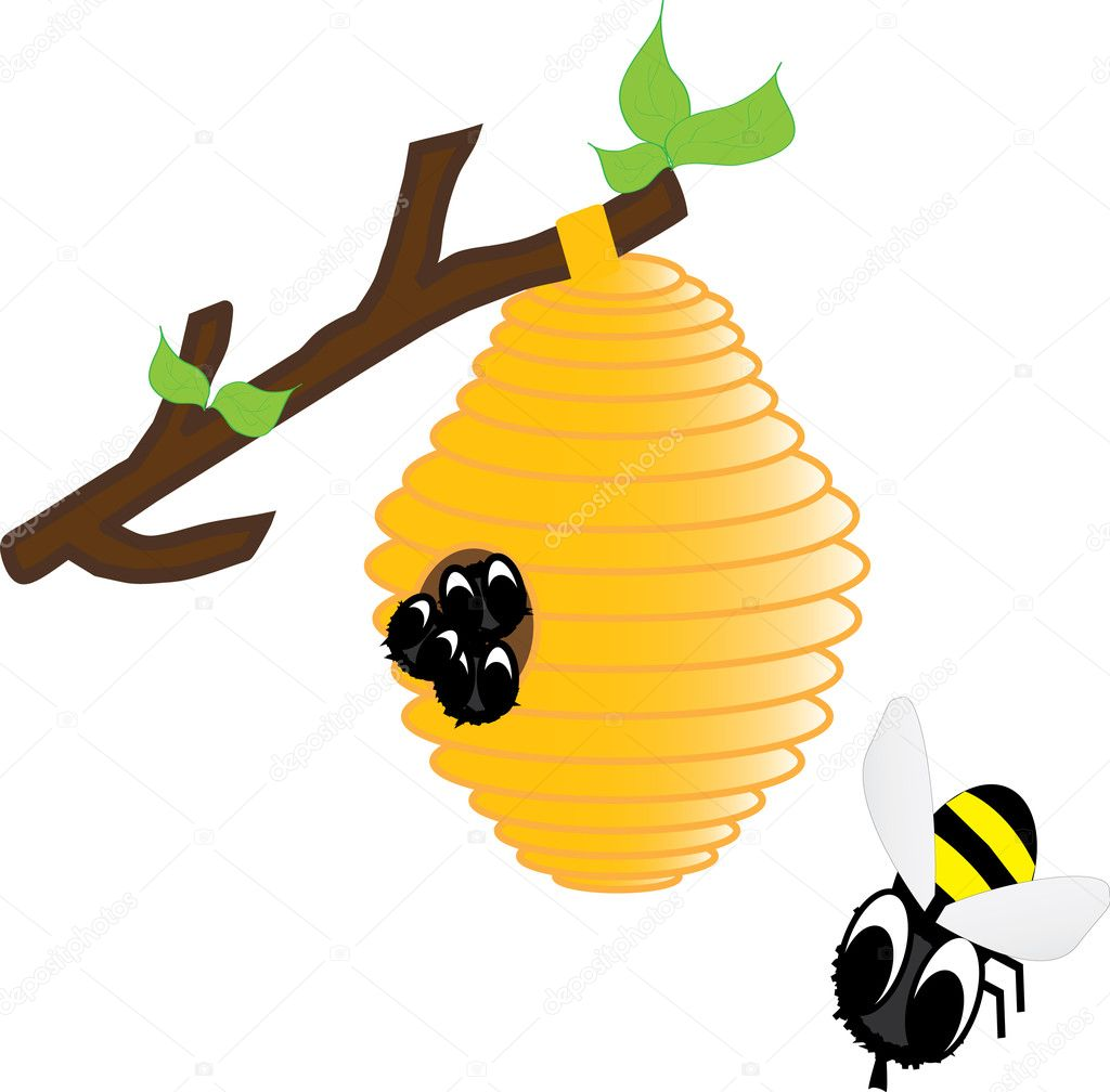 Bees in the hive  - Vector Illustration — Stock Vector #5599235