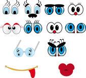 Lábios dos desenhos animados, conjunto de olho — Vetor de Stock
