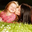 Stock Photo: Mother and daughter on a grass