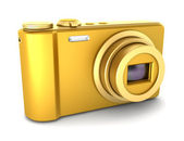 Golden point and shoot photo camera isolated on white background — Stock Photo